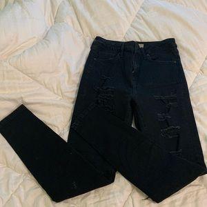 Topshop Moto Jamie black ripped jeans